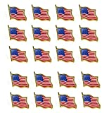 Bassion 20 PCS American Flag Lapel Pin United States USA Waving Flag Pins фото