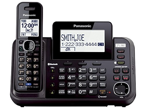 Panasonic KX-TG9541B Link2Cell Bluetooth Enabled 2-Line Phone with Answering Machine & 1 Cordless Handset (Renewed) by Panasonic