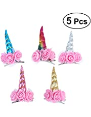 LUOEM 5pcs Unicorn Hair Clip Unicorn Horn Headdress Party Cosplay Costume Hair Accessories for Children Kids Girls (Mixed Style)