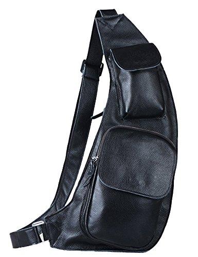Insun Men's Black Genuine Leather Chest Sling Bag