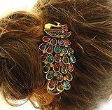 Libaraba Retro Full Gemstone Decoration Hollow Peacock Hair Clasp Topgrade Hair Pin Clip