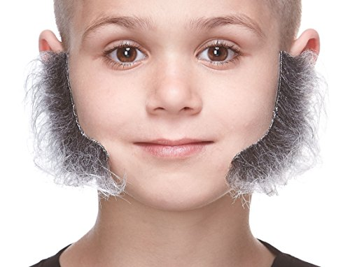 Mustaches Fake Sideburns, Self Adhesive, Novelty, Realistic, Small L Shaped False Mutton Chops, Facial Hair, Costume Accessory for Kids, Salt and Pepper -