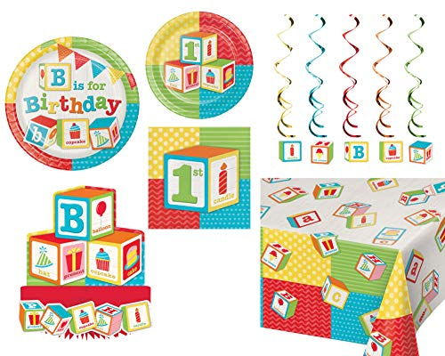 1st Birthday ABC Blocks Party Tableware and Decorations: Bundle Includes Plates & Napkins for 16 People Plus a Table Cover, Centerpiece, and - Birthday Blocks 1st