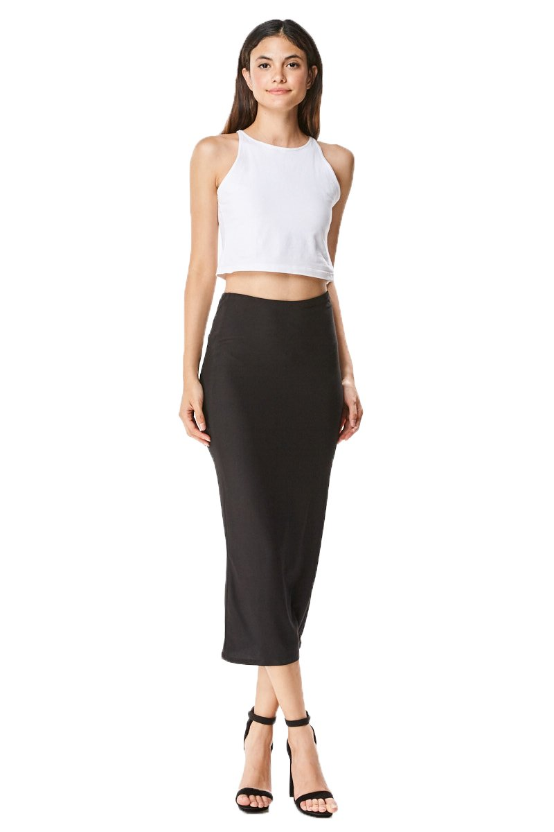 MoDDeals Women's Midi Long Stretchy Bodycon Pencil Skirt, Medium, Black Brushed Stretchy
