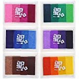 CCINEE Ink Pads Rainbow SET of 6 DIY Multicolor Craft 24 Colors-pink,yellow,purple,coffee,green,blue by CCINEE