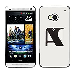 Shell-Star Arte & diseño plástico duro Fundas Cover Cubre Hard Case Cover para HTC One M7 ( A Raven Initial Letter Grey Black )