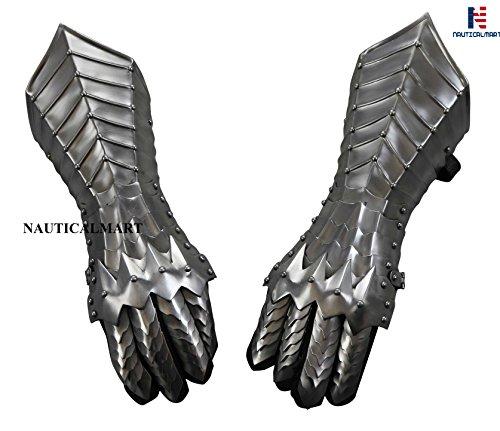 NAUTICALMART Medieval Nazgul Fantasy Gauntlets SCA Armor Gauntlets Gloves -