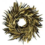 "Natural Schlappen Feather Christmas Wreath 18"" Gold Farmhouse Autumn or Fall Decor"