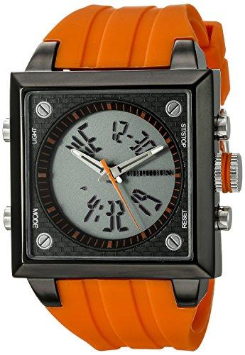 CEPHEUS CP900-690C - Reloj analógico y Digital de Cuarzo para Hombre con Correa de Silicona, Color Naranja