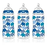 NUK 62736 Hearts,Butterfly Or Elephants Baby Bottle with Perfect Fit Nipple, 10 Ounces, 3 Pack, Assorted Colors and Designs