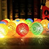 ZONYEO 20 LED Lantern Handmade Tone Cotton Balls String Lights Home Décor Product of Thailand for Kids Living Room Baby Shower Party College Dorm Teens -Colorful