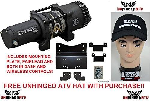 Bundle 2 Items: SuperATV 3500 lb. Winch WITH MOUNTING PLATE for Honda Pioneer 500 and FREE Unhinged ATV Hat!