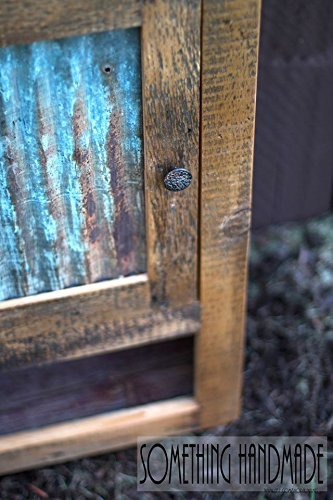 Rustic barn wood cabinet with corrugated steel made from reclaimed 1800s barn wood