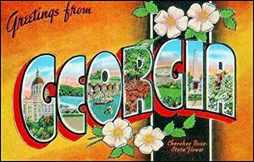 JR Studio 3x5 inch Vintage Greetings from Georgia Sticker (Old Postcard Art Logo ga) Vinyl Decal Sticker Car Waterproof Car Decal Bumper Sticker