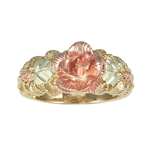 - Womens 10k Black Hills Gold Rose Ring
