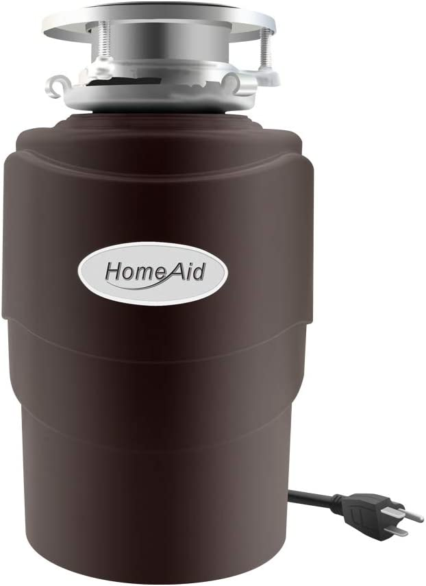 Garbage Disposal Quiet Disposer HomeAid 3/4 HP with Power Cord for Kitchen Sink Food Waste Disposer AC Motor Continuous Feed Stainless Steel Grind Components 3/4 Horsepower Garbage Disposals