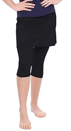0021def0834284 Kosher Casual Women's Skirted Capri Leggings for Exercise & Swim XS Black