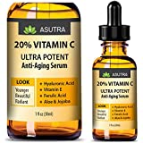 ASUTRA 20% VITAMIN C Anti Aging Serum - ULTRA POTENT & EFFECTIVE/With Ferulic & Hyaluronic Acid, Vitamin E, Aloe & Jojoba + FREE E-Book (one 1oz bottle)