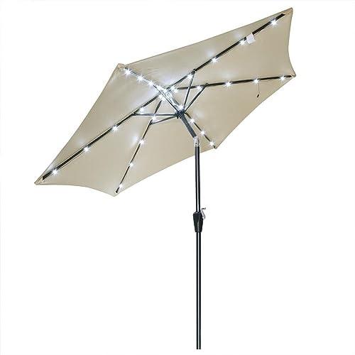 CHIMAERA Tilt Outdoor Patio Aluminum Umbrella w/ Solar LED Light