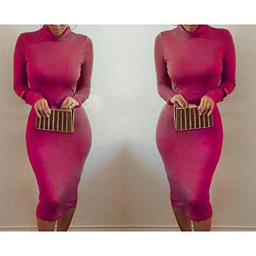 abrigo mujeres vendaje del cuello Bodycon alto roja largo del del cuello las del vestido del de atractivo Bodycon del del Rosa Juleya Vestido qvH40wIW