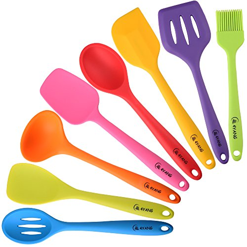 4ya Silicone Spatula Cooking Utensil Set Heat Resistant Kitchen Gadgets 8 Pieces Ebay