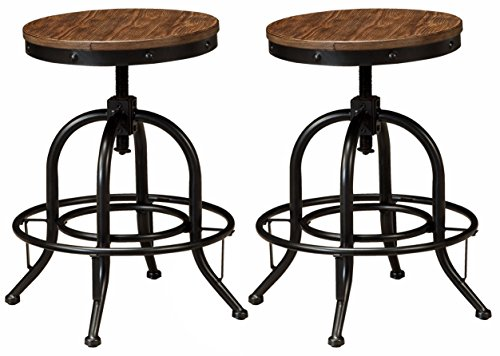 Ashley Furniture Signature Design - Pinnadel Swivel Bar Stool - Counter Height - Set of 2 - Light Brown (Wood Metal Stools Bar)