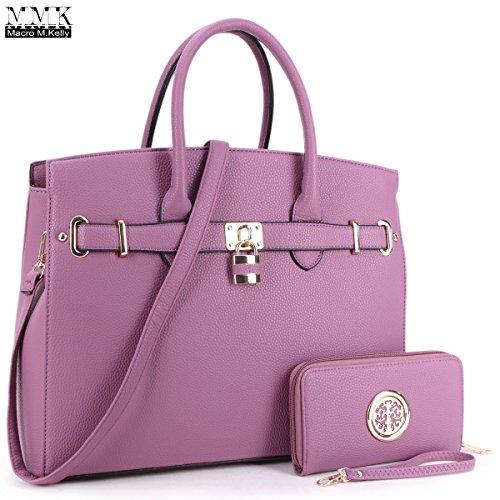 MMK Collection Satchel Padlock handbag~Work Briefcase Handbag~Perfect Christmas Gift~Beautiful Tote bag for all season (NEW-03-1006-W-PP)