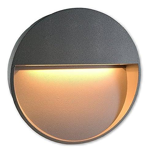 Lichtdiscount   2W Led Treppenbeleuchtung 230V Aufbauleuchte Wandlampe 4190  Rund   Warmweiss