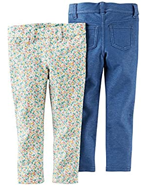 Baby Girls' 2-Pack Jeggings - Floral/Blue (6 Months)