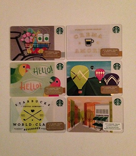 Set of Six Starbucks Collectible Gift Cards