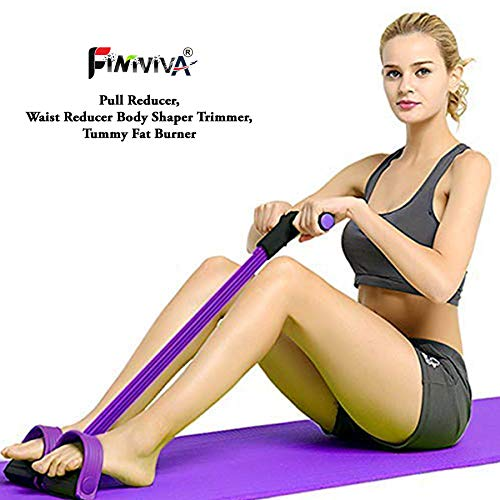 FINIVIVA Multifunctional 4 Tubes Latex Foot Elastic Pull Rope Expander Muscle Fitness Workout Pedal Waist Reducer Body Shaper Trimmer Resistance Bands Price & Reviews