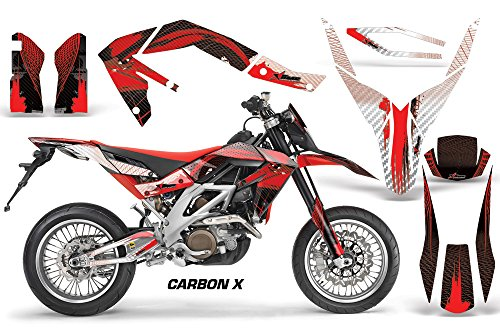 Decal Graphics Kit (Aprilia SXV 4.5/5.5 2006-2015 MX Dirt Bike Graphic Kit Sticker Decals WITH Number Plates Carbon X Red)