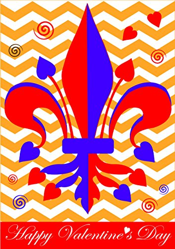 Happy Valentines Day Fleur de Lis 18 x 13 Rectangular Double Applique Small Garden Flag ()
