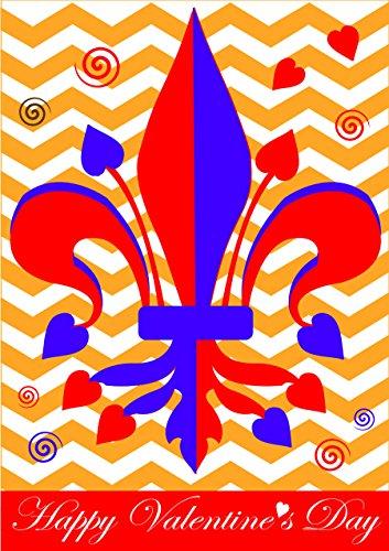 Happy Valentines Day Applique Flags (Happy Valentines Day Fleur de Lis 42 x 29 Rectangular Double Applique Large House Flag)