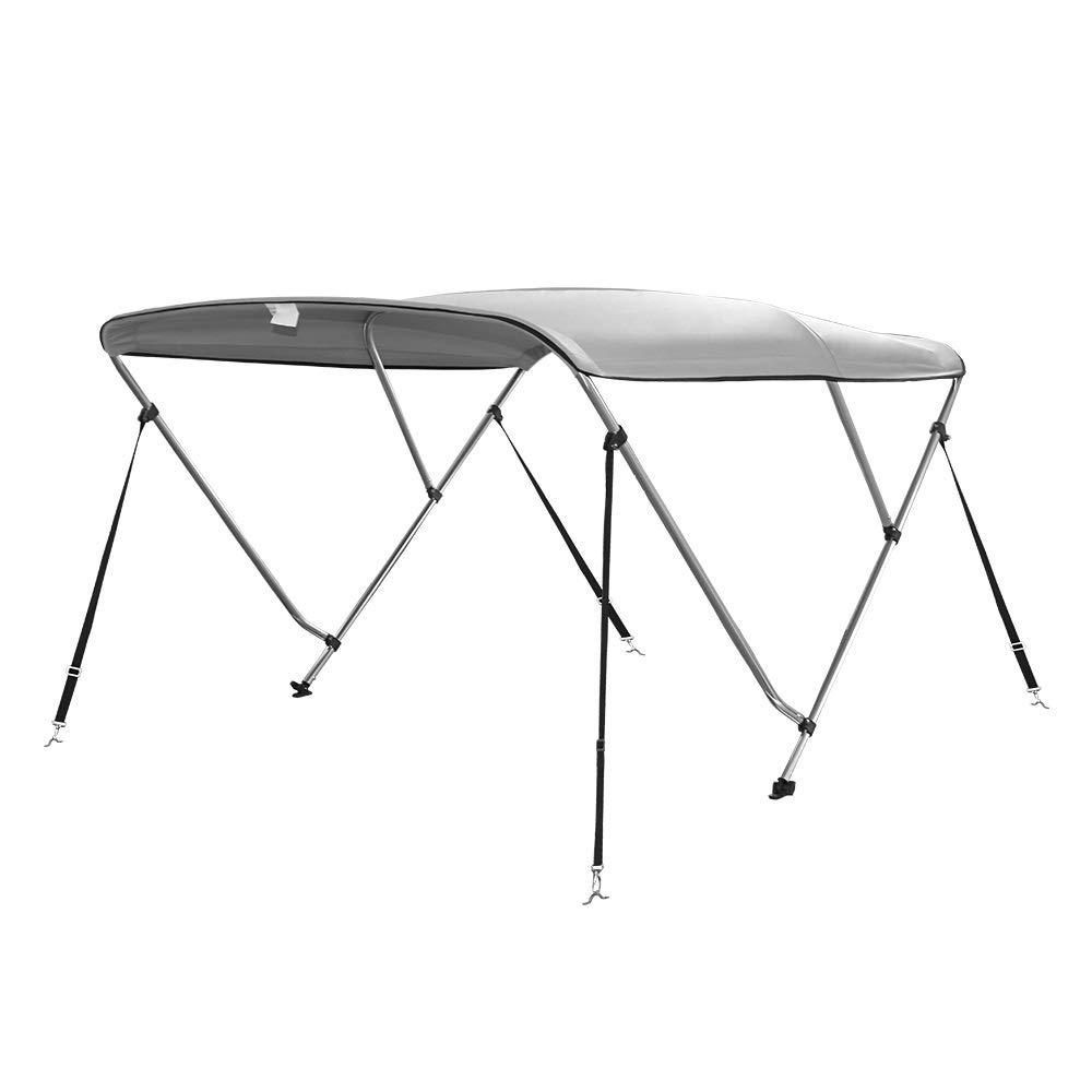 Seamander 3 Bow Bimini Top Boat Cover 4 Straps for Front and Rear Includes with Mounting Hardware(3 Bow 6'Lx 54''-60'' W x 46'' H Light Grey) by Seamander