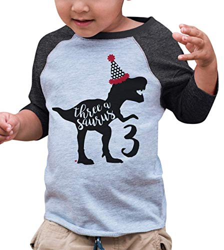 7 ate 9 Apparel ThreeBirthday Dinosaur Grey Baseball Tee 5T (Peel Transfer T-shirt)