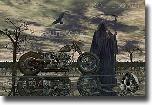 - HARLEY DAVIDSON MOTORCYCLE SHOVELHEAD CHOPPER STURGIS GRIM REAPER BIKER ART PRINT