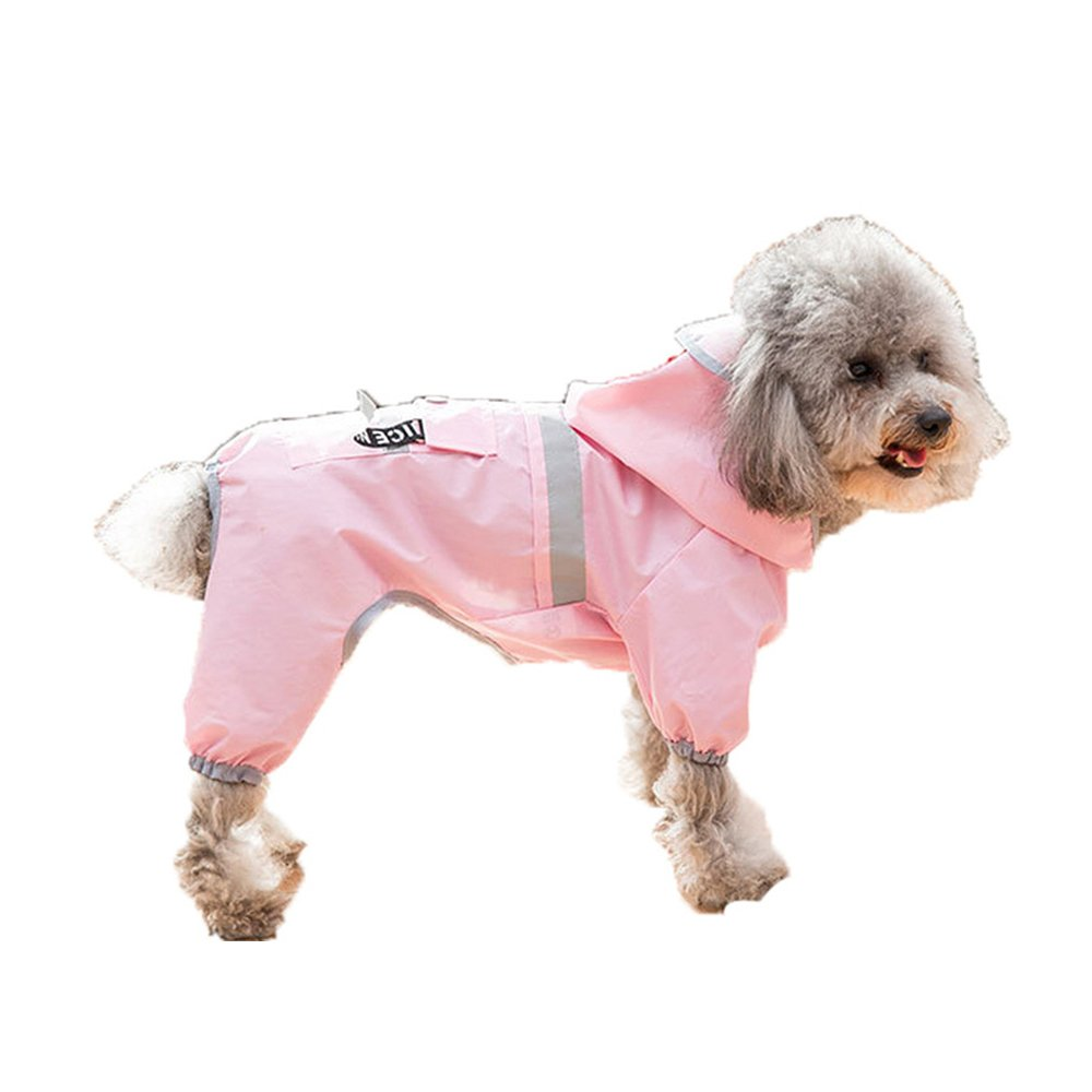 Spring Fever Pet Dog Waterproof Outdoor Pocket Hooded Raincoat Reflective Rain Jacket Pink S