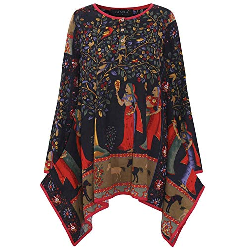 youeneom Gypsy Vintage Embroidered Elegant Rayon Velvet Tunic Kurta Shirt Top Blouse Casual Loose (Multicolor, L)