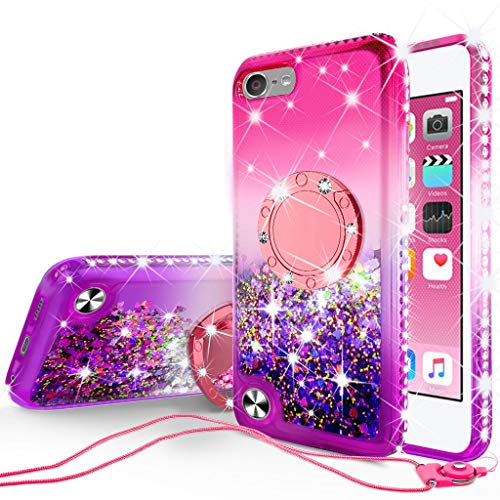 [Coverlab] Liquid Glitter Phone Case Kickstand Compatible for Apple iPod Touch 6/Touch 5 Case,Ring Stand Floating Quicksand Bling Sparkle Protective Girls Women for iPod Touch 5/6 -(Pink Gradient) (Case Touch Barbie Ipod)