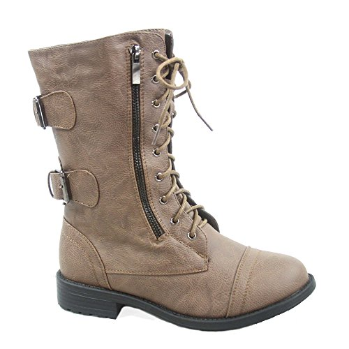 Top Moda Pack-72 Women's Fashion Mid Calf Low Heel Combat Military Zipper...