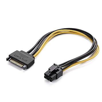UGREEN Cable de Alimentación de 15-Pin SATA a 6-Pin Tarjeta gráfica PCI Express