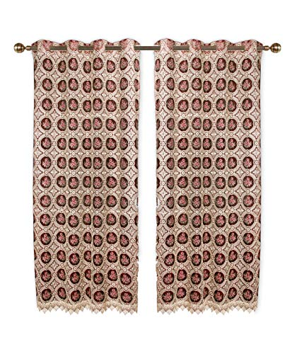 Simhomsen Blackout Vintage Lace Lined Window Curtain Drapes Panel, Burgundy, 52 45 Inches, Set of 2