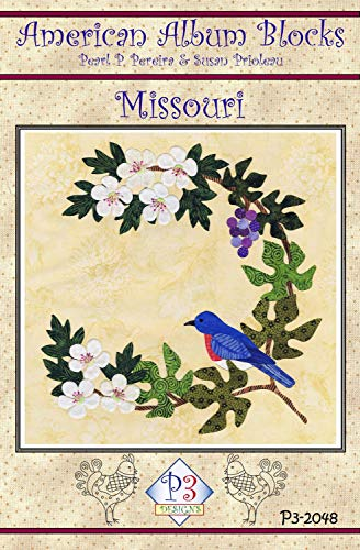 P3 Designs Applique Quilt Pattern ~ American Album Series ~ Block #48, Missouri: The Show Me! State (Finished Project Size is 15