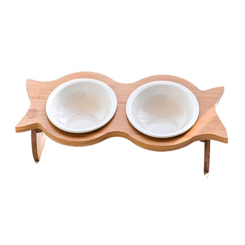 Cat Bowl Ceramic Cat Food Bowl Double Bowl Bevel Neck Anti-flip Wooden Pet Table Dish Rack Dog Bowl