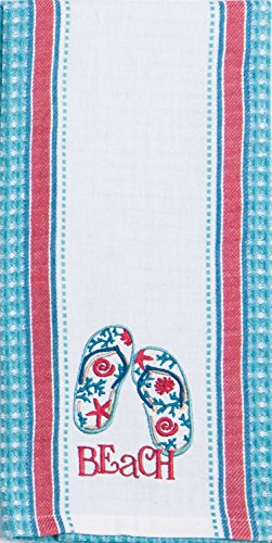 Kay Dee Designs R3278 Beach House Inspirations Flip Flops Embroidered Waffle Tea Towel