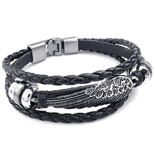 KONOV Genuine Leather Bracelet Braided