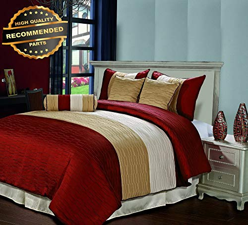 - Gatton Premium New Amber 7pc Jquard Stripes Comforter Set Burgundy Gold Cream Full Size Bed Cover | Style Collection Comforter-311012114
