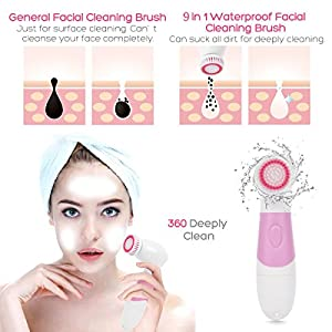 CNAIER 9 in 1 Waterproof Electric Face and Body Cleansing Brush Set with Exfoliating Facial Brush - Best Advanced Microdermabrasion Scrub System