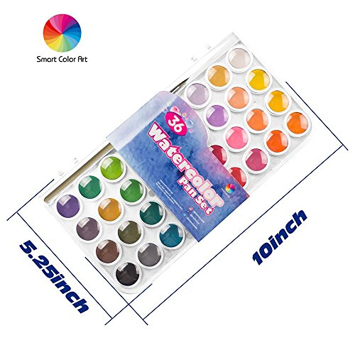 36 Watercolor Pan Set, Smart Color Art Watercolor Paint Set with 4 Brushes,Easy to Blend Colors, Perfect for Kids Adults by Smart Color Art (Image #1)